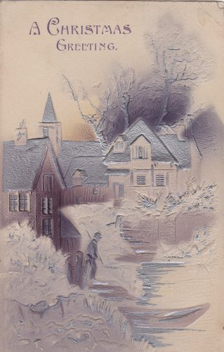 A Christmas Greeting Embossed Church Postcard 1909