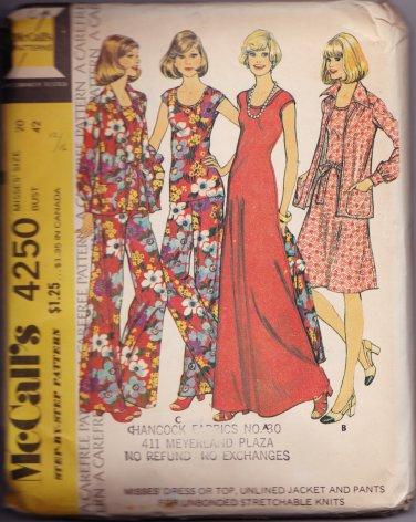 McCalls 4250 Size 20 Uncut Pattern Stretchable Knits Dress Pants Jacket Top
