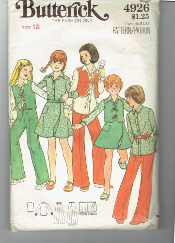 Butterick 4926 Size Girls 12 Blouse Pants Vest and Wrap Skirt