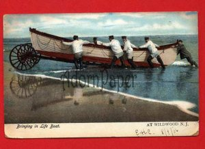 Vintage Postcard - Lifeboat at Wildwood NJ shore c1906  p20