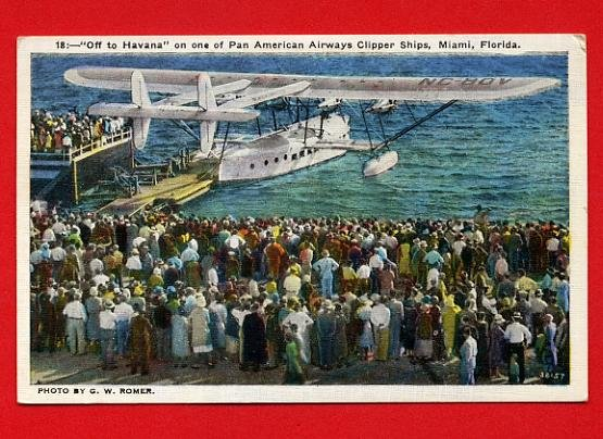 Vintage Postcard - Pan Am water plane going to Havana Cuba T10