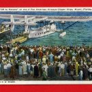 Vintage Postcard - Pan Am water plane going to Havana Cuba T10