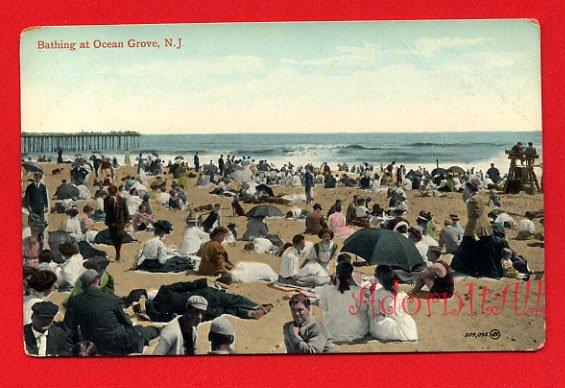 Vintage Postcard - c1909 Bathing in Victorian suits & dresses at Ocean Grove NJ 256