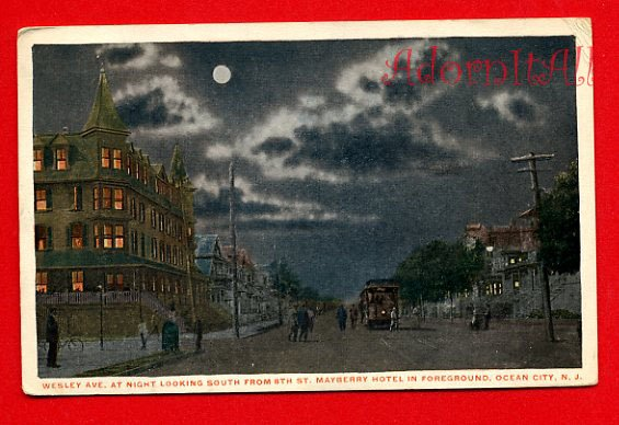Vintage Postcard - c1909 night Wesley Ave & 8th St, Ocean City NJ 258