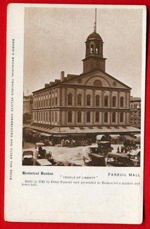 Vintage Postcard - Boston MA historic Faneuil Hall - Liberty 707