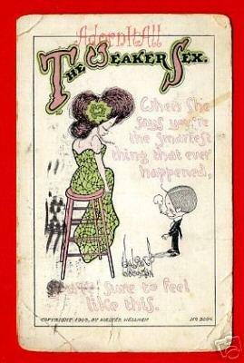 Vintage Comic Postcard - c1908 The Weaker Sex 111