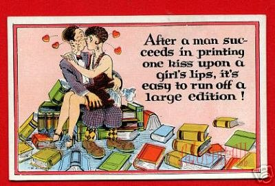 Vintage Postcard - Comic Valentine kissing leads to 119