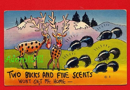 Vintage comic Postcard - 2 Bucks & 5 Scents - skunk pun - 945