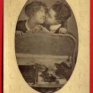 Vintage Postcard - Shy kissing lovers photo Valentine card 580