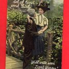 Vintage Postcard - Lovers apology - insert names! circa 1908 L54