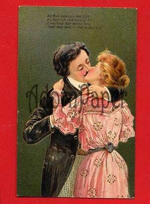 Vintage Postcard - Victorian style lovers KISS! c1908  L56