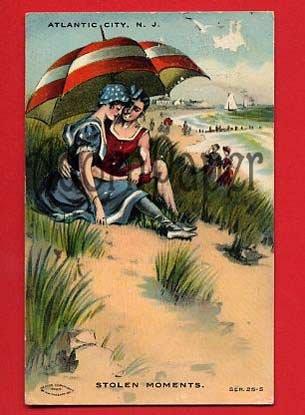 Vintage Postcard - Lovers in bathing suits circa 1909, Atlantic City NJ  L58