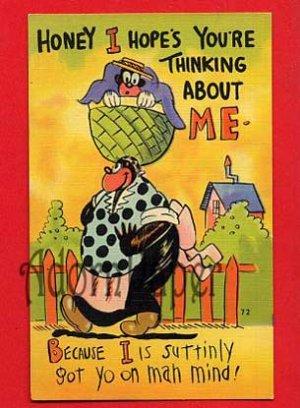 "Vintage comic ostcard - Black Americana ""suttinly got yo on mah mind"" maybe E Nister artist? B60"