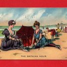 Vintage Postcard - Pretty women - Bathing beauty women circa 1909 at sea shore W47
