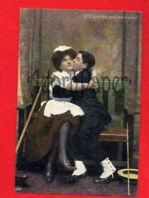 Vintage Postcard - Lovers - Man kisses the maid?  Does she like it?  L53