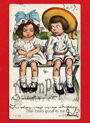Vintage Postcard - Katharine Gassaway's Rotograph Co - 2 kids on bench A57