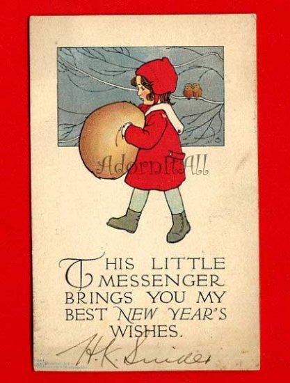 Vintage Postcard - Christmas - Cute Little Girl - perhaps artist Schmucker  844
