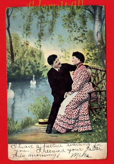 Vintage Postcard - Lovers - Man courts lady - Is it a proposal?  219