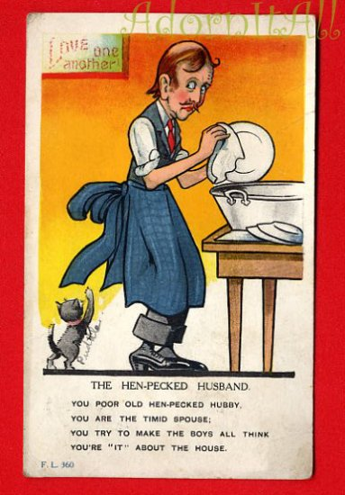 Vintage Comic Postcard - Hen pecked husband washing dishes  222