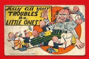 Vintage Comic Postcard: Livingston c1905 - Little Troubles - Father needs a drink! 212