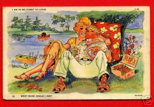 Vintage Comic Postcard - artist signed - Sweethearts in love? 47