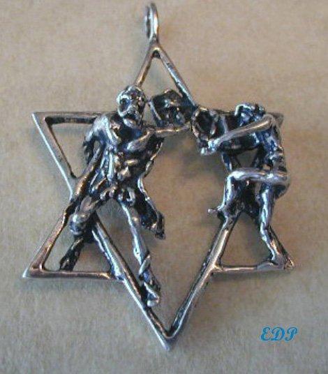"2"" Sterling Modernist Holocaust Star of David Judaica Charm"