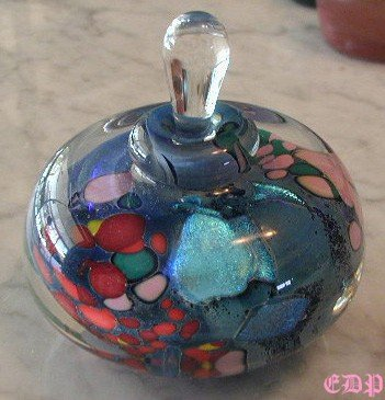 Rollin Karg Dichroic Art Glass Perfume Bottle