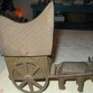 Asian Bronze Ox and Cart Temple Toy Tibet Buddhist Wagon