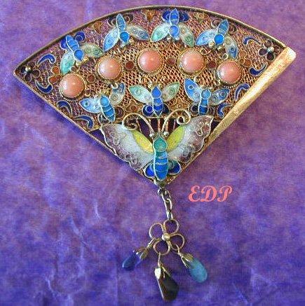 Chinese Enamel FAN Pin Filigree Coral Butterfly Gems