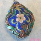 Chinese Enamel Cloisonne Filigree Floral 3D Pendant