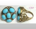 Victorian Brass Persian Blue Turquoise Color Stone Ring