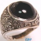 Chinese Mandarin Silver UNISEX Agate Ring Sz 10 Dragon