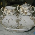 4PC Strawberry Serving Set Milk Jug Sugar Bowl Austria