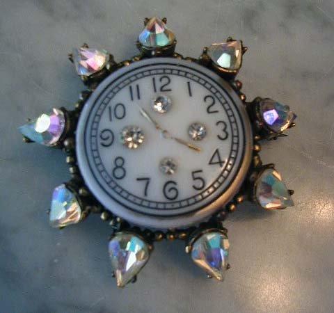 1940's Watch Face Brooch Pin Pendant w AB Rhinestones