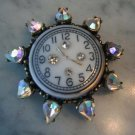 1940's Watch Face Brooch Pin Pendant w AB Rhinestones
