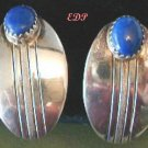 Native American Sterling Lapis Navajo Earrings Oval