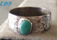 Art Nouveau Deco Sterling and Turquoise Band Ring Etched