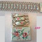 Hand Painted Enamel Roses Link Bracelet Signed WIDE