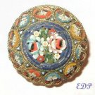 Antique Micro Mosaic Brooch Pin Floral Italy Flowers
