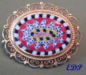 Antique Italian Micro Mosaic Modernist Pin or Brooch