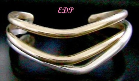 Sterling and Gold Modernist Triple Cuff Bracelet Signed