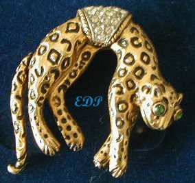 Florenza Leopard Brooch Moving Tail Cheetah Pin Cat