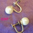 Designer 14Kt Gold Cultured Pearl Earrings Screwbacks