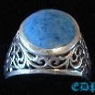 Sterling Filigree Ring Lapis or Turquoise Stone