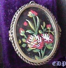 19c Mourning Brooch Pendant Locket Handpainted Flowers