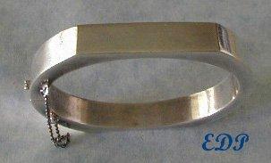 Sterling Modernist Hinged Bangle Bracelet Italy