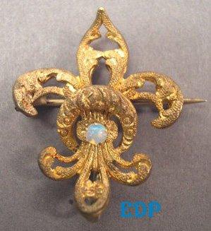 Victorian Fleur-De-Lis Watch Pin Opal C Clasp Edwardian