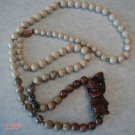 Jasper Oriental Figural Necklace Sterling Floral Clasp