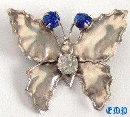 Sterling Butterfly Brooch Pin w Rhinestones