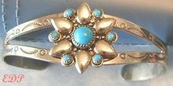 Old Pawn Native American Navajo Turquoise Cuff Bracelet